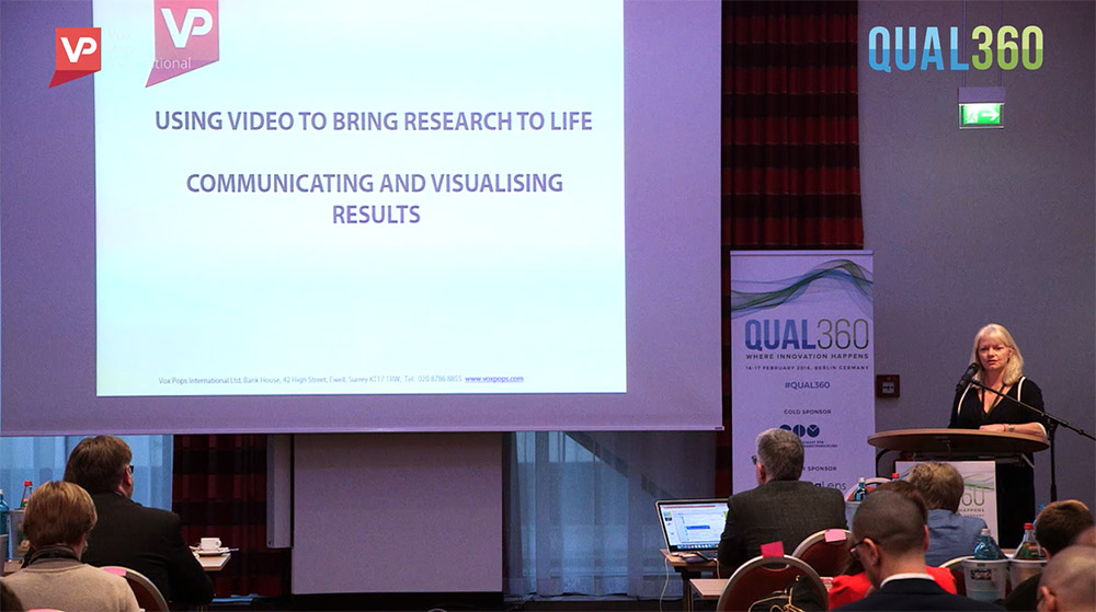 Image of VPI MD Diane presenting at Qual 360 on video insight.