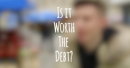 Title screen for video research on student debt.